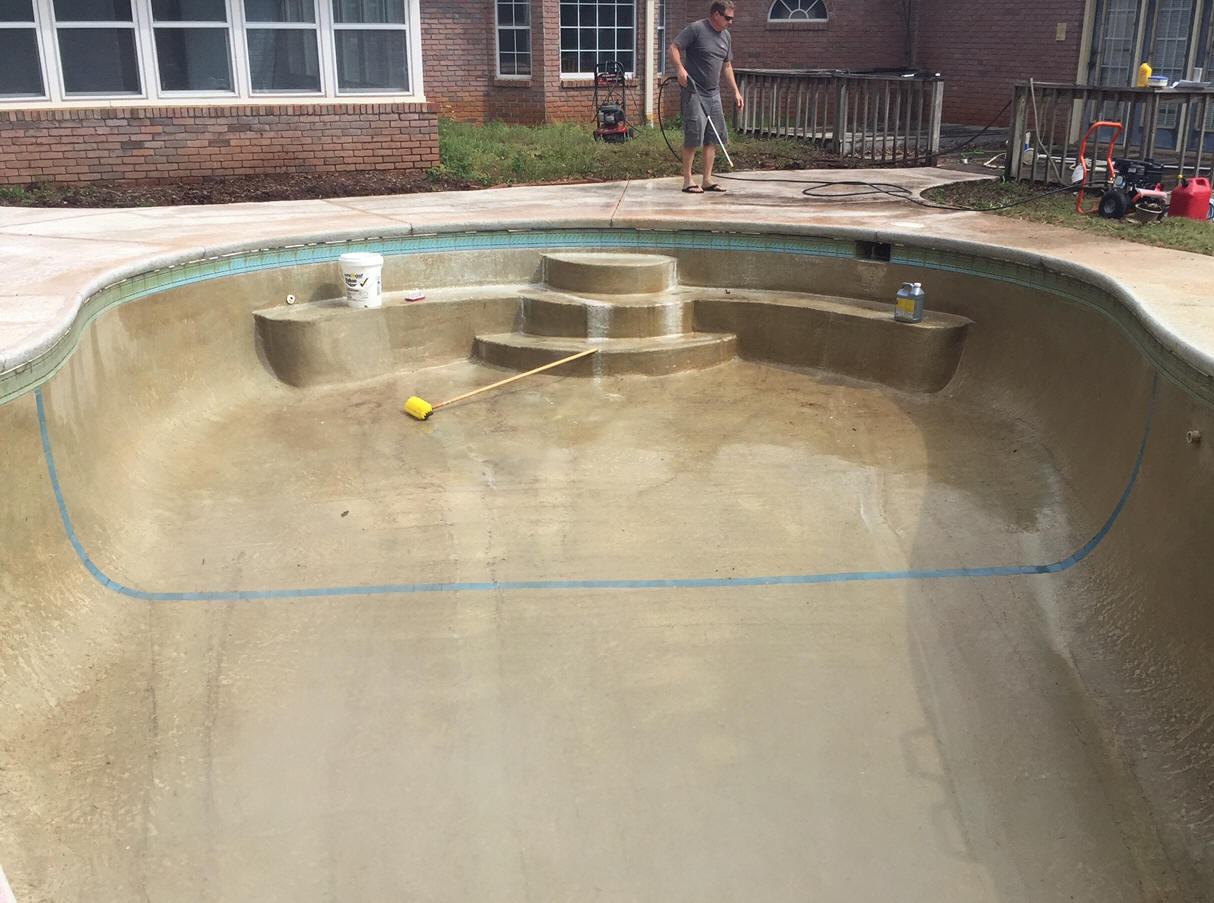 Pool being prepped, for painting with Ultra Poly One Coat.