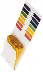 Wide-range pH test strips.