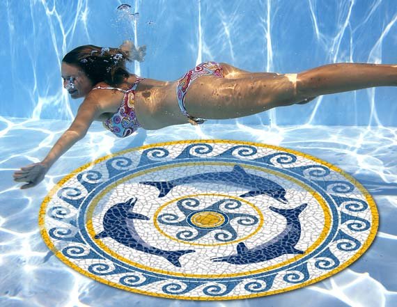 Pool Graphic Art Mats, Pool Graphic Mosaic Mats, pool mosaic mats